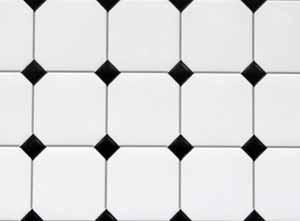 White Tile with Black Diamond Centres