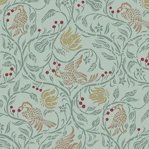 52. Birds & Berries - Green