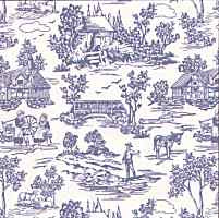 1/24th Campagne Toile - Blue Wallpaper
