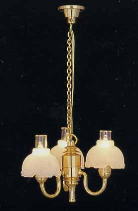 3 Arm Chandelier  - Fluted Shade