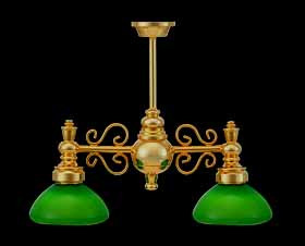 Twin Arm Light with Green Shades