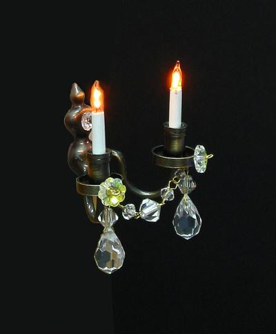 Antique Twin Crystal Wall Light