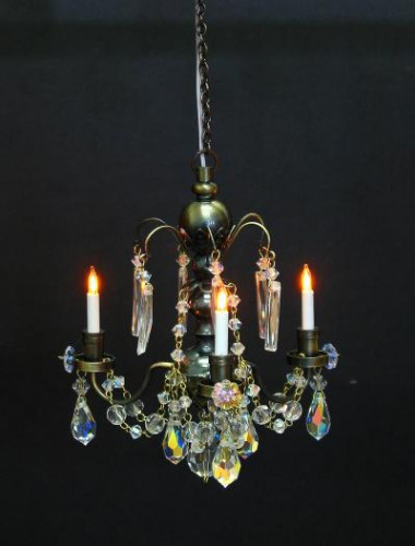 Antique 3 Arm Crystal Chandelier