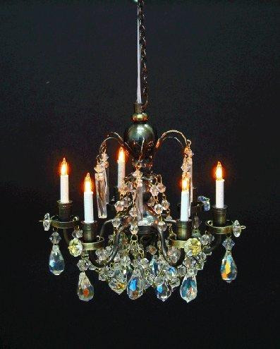 Antique 6 Arm Crystal Chandelier