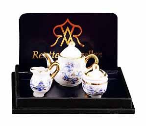 Reutter Tea Set Blue and Gold