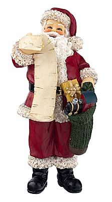 Santa with a Scroll Resin Figure