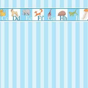 Blue Stripe Nursery Wallpaper